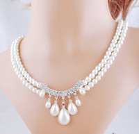Fashion  Wedding  Jewelry  Double  Layer  Rhinestone  Water  Drop  Simulated  Pearl  Choker Necklace Earring Sets