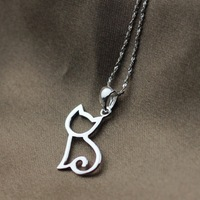 Silver female accessories brief kitten 925 pure silver necklace pure silver pendants