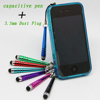 free shipping, capacitive touch pen with 3.5mm headphone dust plug, suitable for iphone ipad,for Nokia N9 N920,for Samsung S4 S3