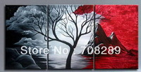 hill tree black red gray white Abstract home decor wall art oil paintings canvas Handmade picture modern painting living room 87