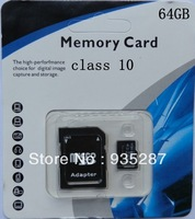 20pcs wholesale SD Card 64GB class 10 SD Memory Card TF SD card 64G with retail packaging adapter free shipping
