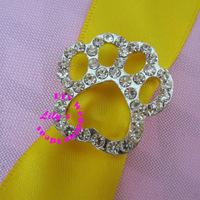 paw prin rhinestone buckle, rhinestone and pearl buckles, 24mm,DIY wedding supply,120pcs/lot
