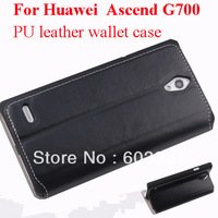 For Huawei Ascend G700 Top Quality Leather stand case, ascend G700 PU leather wallet case with card slots