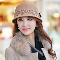 Siggi hat female winter autumn and winter woolen hat bucket hats lace bow billycan fedoras