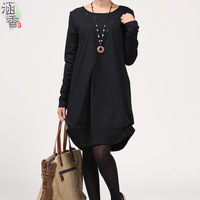 Autumn new arrival 2013 brief loose fluid plus size women's long-sleeve dress skirt pleated