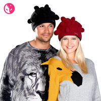 Free Shipping Fox winter male Women unisex paragraph polar fleece fabric bag style hat pocket cap 1433