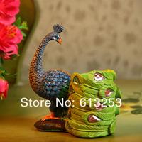 Sri Lanka Peacock Resin Craft Brush Pot. Desktop Decoration Figurine.Home Decorative Handicraft. Gift.  Wholesale  A0108122
