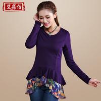 2013 autumn women's patchwork chiffon sweep o-neck medium-long basic shirt female long-sleeve t-shirt