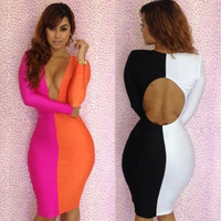 2013 hit color stitching dress sexy deep V-neck dress