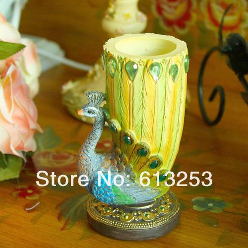 Sri Lanka Blue Peacock Resin Craft Brush Pot. Desktop Decoration Figurine.Home Decorative Handi