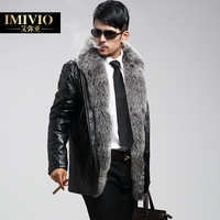 Genuine leather clothing male super large fur collar slim fur sheepskin one piece male leather clothing