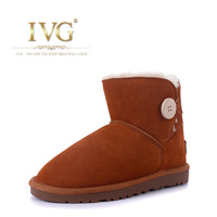 2013 ivg winter thickening plush flat slip-resistant single-button snow boots