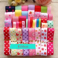 Free shipping 46 YDS Mixed 39 style satin / grosgrain ribbon DIY ribbons set