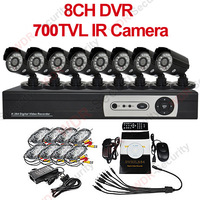 DIY DVR camera system 700tvl camera 8 Channel DVR Home Security Surveillance Camera System With 8 Warterproof Outdoor IR CCTV