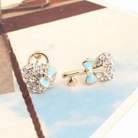 Brincos wholesale  lots  bijoux 18k gold plated Exquisite  blue oil bow bags key asymmetrical stud earring e9286b