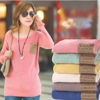 2013 New Arrival Women Winter Sweater Spring Autumn Pullover O-neck Loose Brand Sweater Long-Sleeve Cardigan Pocket Plus Size