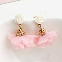 Brincos lots ks bijoux 18k gold plated Shallow pink chiffon cloth flower beige gentlewomen flower resin stud earring e7297g