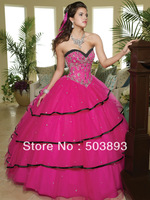 Free shipping masquerade ball dresses hot pink quinceanera dresses 2014 sweet 16 ball gowns formal quinceanera dress