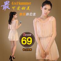 2014 2013 sweet pink one-piece dress sleeveless chiffon tank dress flower o-neck solid color lantern skirt