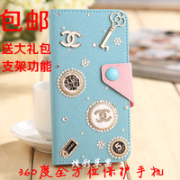 For samsung   s4 phone case protective case i9500 original leather case mobile phone case 9508 s4 holsteins rhinestone