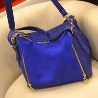 Fashion 2013 fashion bags nubuck leather vintage color block navy blue shoulder bag cross-body women's bags