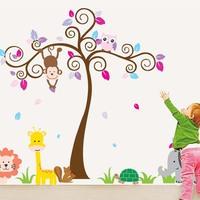 Jungle Animals Nursery Bbay Wall decor stickers Giraffe Lion Monkey and Owl Kids Room murals