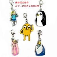 10 Sets/Lot Adventure Time Keychain Finn / Jake / BMO Phone Straps 5 Styles Anime Pandents