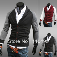 0937 Fashion Slim hit the color lapel single-breasted men's sweater