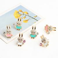 Brincos fashion lots ks bijoux 18k gold plated   base coat cartoon rabbit lollygags cute stud earring e9526a  Min.order $10