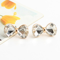 Brincos fashion lots ks bijoux 18k gold plated White crystal inlaying bow stud earring e9263a  Min.order $10
