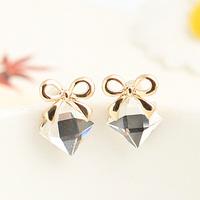 Brincos fashion ks bijoux 18k gold plated Inlaying rhombus crystal elegant bow stud earring e9339  Min.order $10 Christmas gift