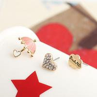 Brincos fashion ks bijoux 18k gold plated Oil umbrella  heart letter piece set stud earring chromophous e9460b  Min.order $10