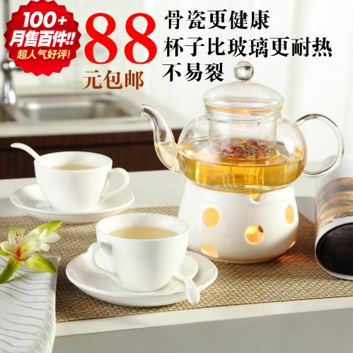 Flower pot glass tea set ordovician bone china set herbal pasteuring kung fu tea rustic