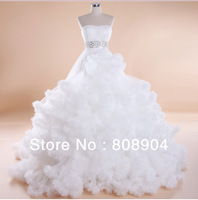 Free Shipping High Quality 2013 New Arrival off shoulder  A-Line swan Sweetheart elegant Wedding Dress Gowns