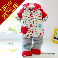 2013 winter newborn baby clothes set male thermal thickening wadded jacket cotton-padded jacket twinset 0 2