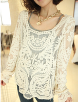 new 2013 brand spring crochet lace loose solid color cutout long-sleeve pullover shirt long-sleeve t-shirt