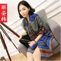 Free shipping Liz bohemia national geometry fluid trend design long silk scarf large scarf sun cape
