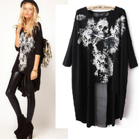 Women Backless Skull Sexy Bat Sleeve Round Neck Irregular Top Blouse Loose Shirt  Free Shipping