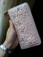 New arrival 2013 women's handbag pearl small flower rhinestone genuine leather evening bag day clutch