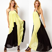Newly Female Concise fashion atmosphere skirt lemon yellow match back design long dress full dress