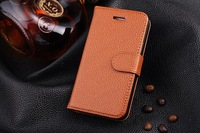 Free Shipping Lichee Pattern wallet leather sheath phone Case Hot Fashion Top Quality Cover For Iphone 4/4s brown color