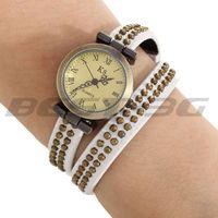 Quartz Movement Wrist Watch Wristwatch Real Leather White Wrap Band Bracelet