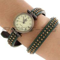 Quartz Movement Wrist Watch Wristwatch Real Leather Green Wrap Band Bracelet