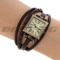 Unisex Quartz Wristwatch Wrist Watch Bracelet Deep Brown PU Wrap Strap Band Gift