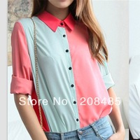 Free shipping 2013 Autum Fashion Patchwork CONTRAST COLOR  Long-sleeve Women chiffon shirts