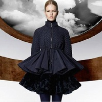 New 2013 autumn and winter runway women clothing victoria Peplums sheds skirt stand collar outerwear wadded jacket PADDING COATS