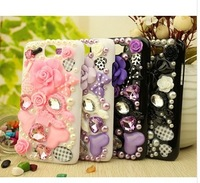 Free shipping,Luxury diamond flower Phone shell&case for samsung i9100 i9300 i9500 i9220 Note 2.SJ 26