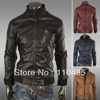 0941 Ribbed collar buckle Slim Short Men PU leather motorcycle leather