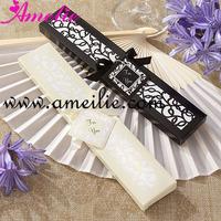 White Silk Wedding Fans with Beige Gift Box