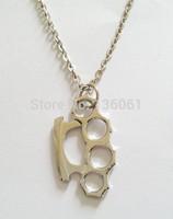 Fashion Jewelry Vintage Silve Knuckle Duster Punk Long Chain Statement Collar Choker Pendants Necklace DIY Jewelry  Z2286